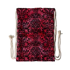 Damask2 Black Marble & Red Watercolor Drawstring Bag (small) by trendistuff
