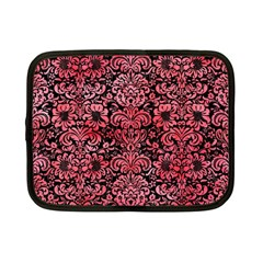 Damask2 Black Marble & Red Watercolor (r) Netbook Case (small)  by trendistuff