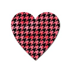 Houndstooth1 Black Marble & Red Watercolor Heart Magnet by trendistuff