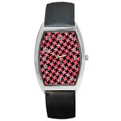 Houndstooth2 Black Marble & Red Watercolor Barrel Style Metal Watch by trendistuff