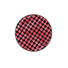 Houndstooth2 Black Marble & Red Watercolor Hat Clip Ball Marker by trendistuff