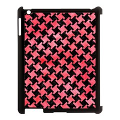 Houndstooth2 Black Marble & Red Watercolor Apple Ipad 3/4 Case (black) by trendistuff