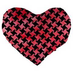Houndstooth2 Black Marble & Red Watercolor Large 19  Premium Flano Heart Shape Cushions by trendistuff