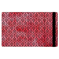 Hexagon1 Black Marble & Red Watercolor Apple Ipad 2 Flip Case by trendistuff