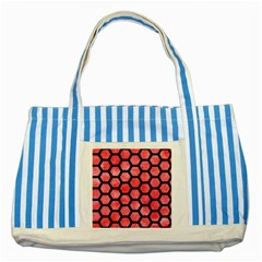 Hexagon2 Black Marble & Red Watercolor Striped Blue Tote Bag by trendistuff
