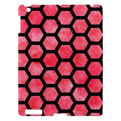 Hexagon2 Black Marble & Red Watercolor Apple Ipad 3/4 Hardshell Case by trendistuff