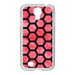 Hexagon2 Black Marble & Red Watercolor Samsung Galaxy S4 I9500/ I9505 Case (white) by trendistuff