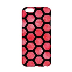 Hexagon2 Black Marble & Red Watercolor Apple Iphone 6/6s Hardshell Case by trendistuff
