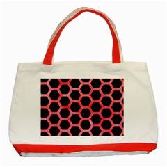 Hexagon2 Black Marble & Red Watercolor (r) Classic Tote Bag (red) by trendistuff
