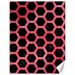 Hexagon2 Black Marble & Red Watercolor (r) Canvas 12  X 16   by trendistuff