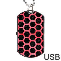 Hexagon2 Black Marble & Red Watercolor (r) Dog Tag Usb Flash (two Sides) by trendistuff