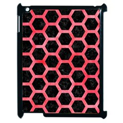 Hexagon2 Black Marble & Red Watercolor (r) Apple Ipad 2 Case (black) by trendistuff