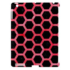 Hexagon2 Black Marble & Red Watercolor (r) Apple Ipad 3/4 Hardshell Case (compatible With Smart Cover) by trendistuff