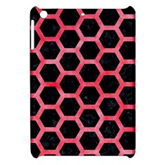 Hexagon2 Black Marble & Red Watercolor (r) Apple Ipad Mini Hardshell Case by trendistuff