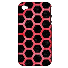 Hexagon2 Black Marble & Red Watercolor (r) Apple Iphone 4/4s Hardshell Case (pc+silicone) by trendistuff