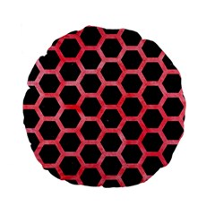 Hexagon2 Black Marble & Red Watercolor (r) Standard 15  Premium Flano Round Cushions by trendistuff