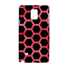Hexagon2 Black Marble & Red Watercolor (r) Samsung Galaxy Note 4 Hardshell Case by trendistuff
