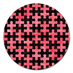 Puzzle1 Black Marble & Red Watercolor Magnet 5  (round) by trendistuff