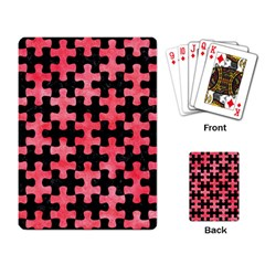 Puzzle1 Black Marble & Red Watercolor Playing Card by trendistuff