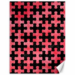 Puzzle1 Black Marble & Red Watercolor Canvas 12  X 16   by trendistuff
