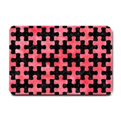 Puzzle1 Black Marble & Red Watercolor Small Doormat  by trendistuff