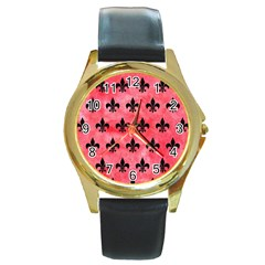 Royal1 Black Marble & Red Watercolor (r) Round Gold Metal Watch by trendistuff