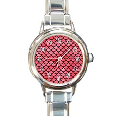 Scales1 Black Marble & Red Watercolor Round Italian Charm Watch by trendistuff