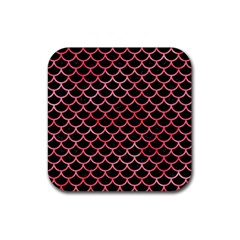 Scales1 Black Marble & Red Watercolor (r) Rubber Square Coaster (4 Pack)  by trendistuff