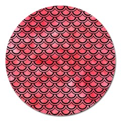 Scales2 Black Marble & Red Watercolor Magnet 5  (round)
