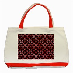 Scales2 Black Marble & Red Watercolor (r) Classic Tote Bag (red) by trendistuff
