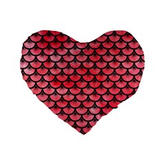 Scales3 Black Marble & Red Watercolor Standard 16  Premium Heart Shape Cushions by trendistuff