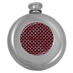 Scales3 Black Marble & Red Watercolor (r) Round Hip Flask (5 Oz) by trendistuff