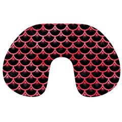 Scales3 Black Marble & Red Watercolor (r) Travel Neck Pillows by trendistuff