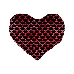 Scales3 Black Marble & Red Watercolor (r) Standard 16  Premium Flano Heart Shape Cushions by trendistuff