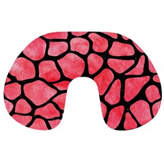 Skin1 Black Marble & Red Watercolor (r) Travel Neck Pillows by trendistuff