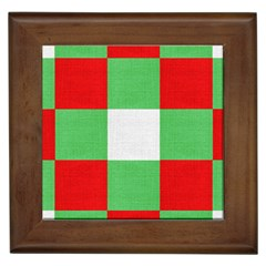 Fabric Christmas Colors Bright Framed Tiles by Onesevenart