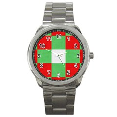 Fabric Christmas Colors Bright Sport Metal Watch by Onesevenart