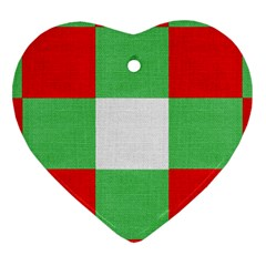 Fabric Christmas Colors Bright Heart Ornament (two Sides) by Onesevenart
