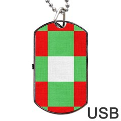 Fabric Christmas Colors Bright Dog Tag Usb Flash (one Side) by Onesevenart
