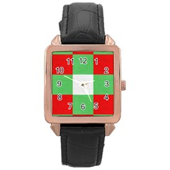 Fabric Christmas Colors Bright Rose Gold Leather Watch  by Onesevenart