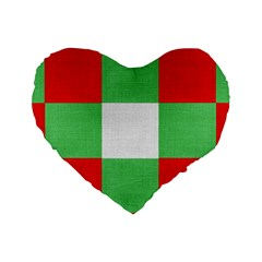 Fabric Christmas Colors Bright Standard 16  Premium Flano Heart Shape Cushions by Onesevenart