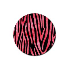 Skin4 Black Marble & Red Watercolor Rubber Coaster (round)