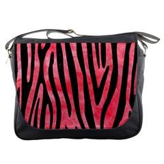 Skin4 Black Marble & Red Watercolor (r) Messenger Bags by trendistuff