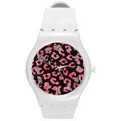 Skin5 Black Marble & Red Watercolor Round Plastic Sport Watch (m) by trendistuff