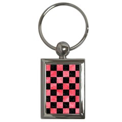 Square1 Black Marble & Red Watercolor Key Chains (rectangle)  by trendistuff
