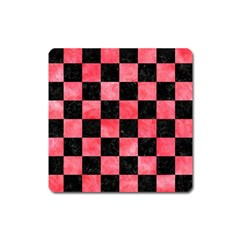 Square1 Black Marble & Red Watercolor Square Magnet by trendistuff