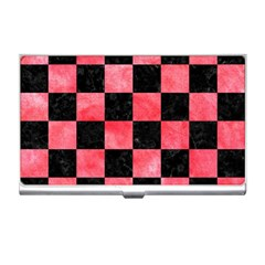 Square1 Black Marble & Red Watercolor Business Card Holders by trendistuff
