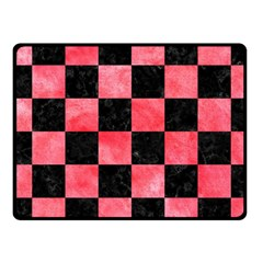 Square1 Black Marble & Red Watercolor Fleece Blanket (small) by trendistuff