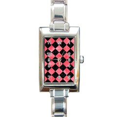 Square2 Black Marble & Red Watercolor Rectangle Italian Charm Watch by trendistuff