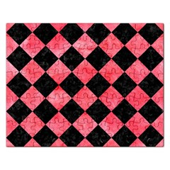 Square2 Black Marble & Red Watercolor Rectangular Jigsaw Puzzl by trendistuff